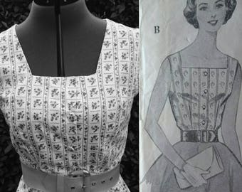 50s Square Neck Button Up Blouse Made From Original Mid Century British Pattern UK Size 10 to 12. Matching Purse.