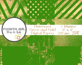 Green and Gold Digital Paper, Gold Foil, Green, Christmas, Digital Paper Pack, Digital Scrapbook, Digital Paper,