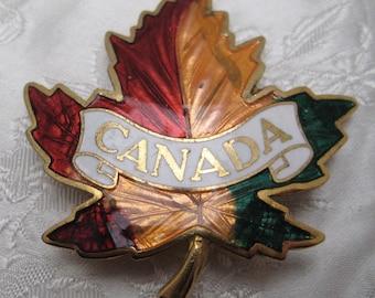 Unusual Vintage Goldtone & Enamel CANADA Maple Leaf Brooch KITSCH GLAMOUR