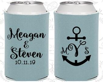 Anchor Wedding Favors, Personalized Wedding, Nautical Wedding Favors, Monogrammed Gift, Monogram Wedding, Wedding Can Coolers (14)