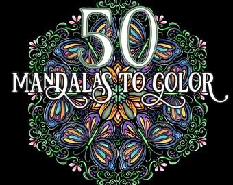 Coloring Book PDF 50 Mandalas Printable Download Intricate Designs Pages Adult