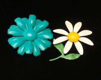 Two 1960s Flower Power Enamel Brooch Pins