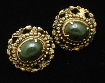Vintage Earrings Dark Green Stones