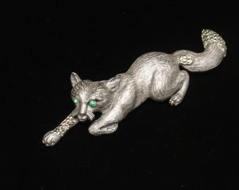 Jungle Cat Brooch Pin Large Vintage