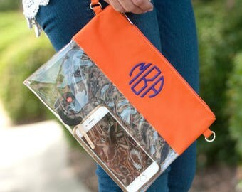 Monogram Game Day Clear Purse - Monogram Game Day Zipper Pouch - Stadium Purse - Game Day purse - Monogram Clear Purse - Clear zipper purse