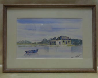 Signed Matted & Framed 1997 Watercolor Painting: Colorful Boat in Lake Landscape