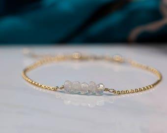 Dainty moonstone bracelet, delicate bridesmaid bracelet, June birthstone jewellery for bridesmaid - Martha