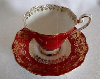 Vintage Royal Standard Fine Bone China England Cup & Saucer Red Gold Trim Enamel
