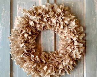 "20"" Rag Wreath (Tea) - Farmhouse Wreath - Shabby Chic Wreath - Neutral Wreath - Year Round Wreath - Fall Wreath - Front Door Wreath"