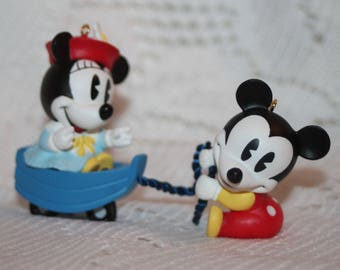 Hallmark Keepsake ornament Make Belive Boat Baby Mickey & Co set of 2 Vintage 1998 Mickey and Minnie