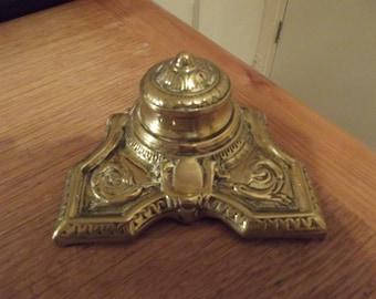 Vintage brass inkwell, Art Noveau, 1910