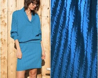 1980s Turquoise Knit Two-Piece Dress // Dolman Sleeve Sweatshirt Bodycon Pencil Skirt Set sz S / M