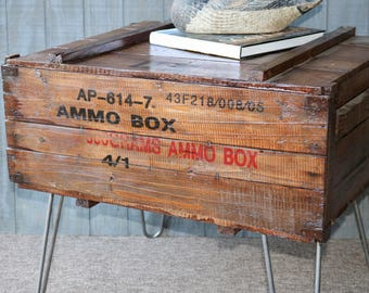 Vintage Rustic Ammunition Box Coffee Table, Man Cave Furniture, Table With  Hairpin Legs,