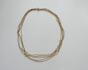 Vintage Gold Tone Multi Strand Chain Necklace | choker