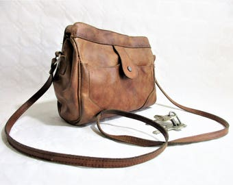 vintage distressed tan leather small cross body / shoulder bag