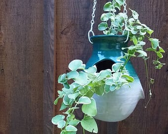 Green Hanging Strawberry Pot hanging planter flower pot strawberry jar hens and chicks herb pot ceramic hanging plant holder glazed garden
