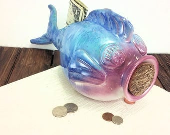 fish piggy bank for boy, fish art fish shaped coin bank, fishing gift ideas, fishing decor, sportsman gift fishing fish sculpture money bank