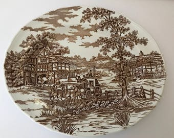 """Vintage  Brown and Cream  Alfred  Meakin  """"Coaching Days"""" Pattern  Platter"""