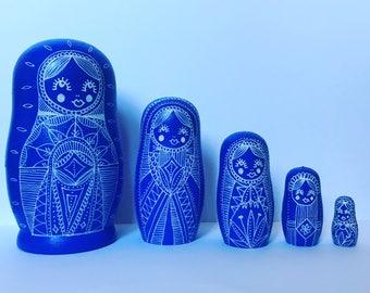 Russian dolls, nesting dolls, matryoshka russian babushka, mandala illustration dolls