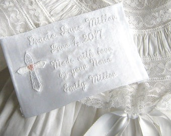 CHRISTENING/BAPTISMAL DRESS Embroidered Label, Child's Full Name, Event or Birth Date, Double Face Satin Polyester Ribbon, Baby Gift, 3x5""