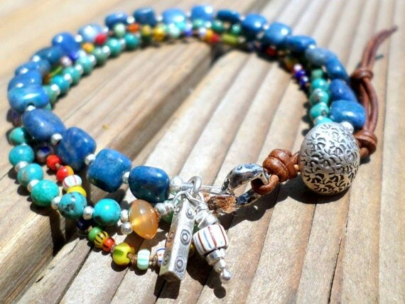 Turquoise Bracelet and Hill Tribe Silver with Lapis, African Heishi Beads, Hand Knotted, December Birthstone, Triple Strand, Beachy