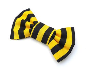 Dog Bow Tie - Yellow and Black stripe