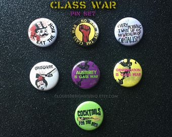 No War But the Class War 7-piece Pinback Button Set - Pins for the Working Class, 99 Percent, and Anti-Capitalists Alike