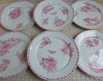 Set of 6 French antique ironstone dark rose red transferware dinner plates. Dark pink transferware.  Aesthetic Movement Jeanne d'Arc living.