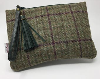 Harris Tweed Clutch Bag or Purse, Wristlet Bag or Purse with removable Italian Leather Strap and Tassel.  Free Shipping in UK.
