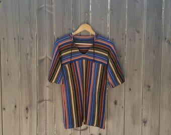Vintage 1970s Vertical Stripe Tunic Top 3/4 Length Sleeve