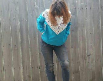 1980s Teal Paisley Sweatshirt by Blast