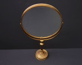 Vintage Large Vanity Swivel Mirror Two Sided Magnifying Mirror Ormolu Standing