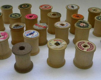 24 Vintage Wood Spools - Altered Art - Mixed Media - Assemblage - Bowl Fillers