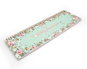 Weekly Scheduler planner calendar scrapbook notebook simply desk note - Mint / Pink