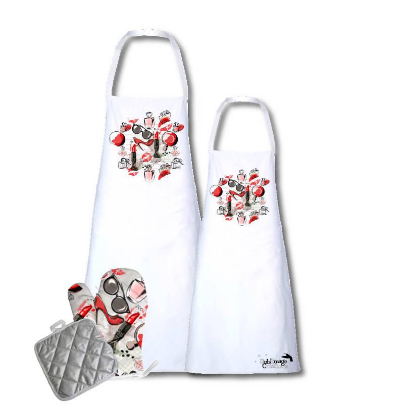 Set tablier avec gant et manique kit cuisine original et personnalisable girly pendaison de - Tablier de cuisine personnalisable ...