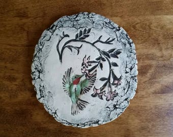 Shapes of Clay by Stan Mount St. Helens Ash Hummingbird Art Pottery Plaque