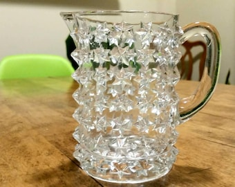 Vintage Cut Glass Creamer with Star Pattern, Small Pitcher