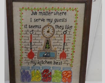 Vintage Crewel Work Needlepoint - They Like My Kitchen Best