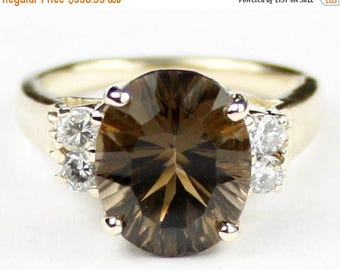 On Sale, 30% Off, Smoky Quartz, 10K Yellow Gold Ring, R123