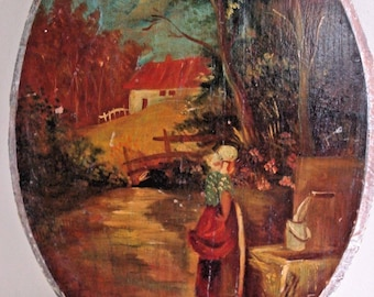 Antique OIL PAINTING Primitive Rustic Country House Folk Art Picture Water/Well Farm Scene Wood/Wooden Vintage Oil Board Eastern European