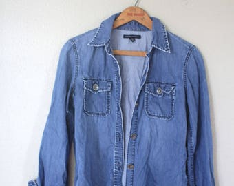 vintage banana republic distressed blue chambray denim shirt womens *