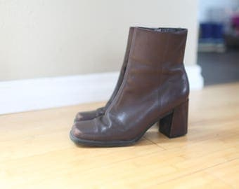 vintage  brown leather oxfords ankle boots womens 7