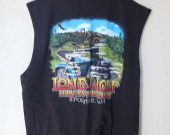 vintage harley davidson lone wolf spokane washington black t shirt muscle tank top