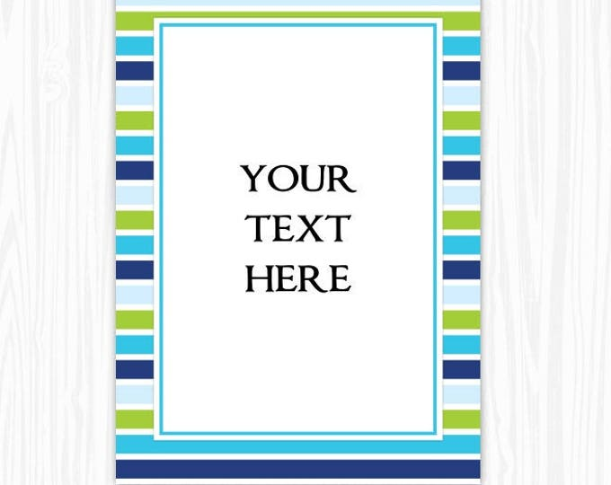 5x7 Blue Green Stripes BLANK Sign, Printable Sign or Invite, Birthday or Shower, Editable Sign or Invitation, INSTANT Download