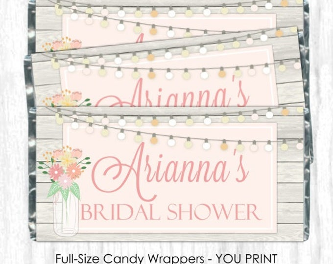 Printable Candy Wrappers, Mason Jar Floral Wedding Candy Wrappers, fit over chocolate bars, DIY Wedding, custom design, bridal shower
