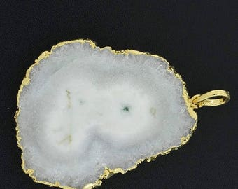 40%DIS AAA 75 Cts 37x43x5mm Gold Dipped SOLAR Quartz Stalactites Slice Gold Dipped Pendant(2714)