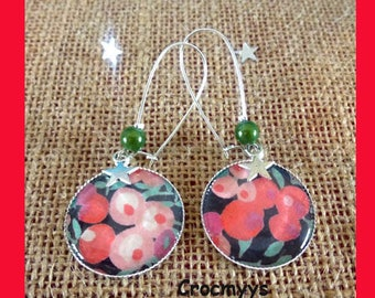 Big earrings liberty wiltshire red and green