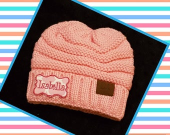 Beanie with the CC letters with embroidered patch or monogram initials