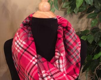 Red plaid soft fleece loop scarf