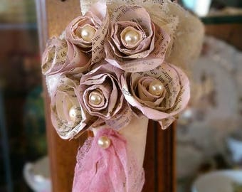 ON SALE Vintage Book Pages Pink Paper Flowers Roses Bouquet .. Hanging Mussy Tussy Mussie Tussie Nosegay Cone .. Home or Wedding Decor..Uniq
